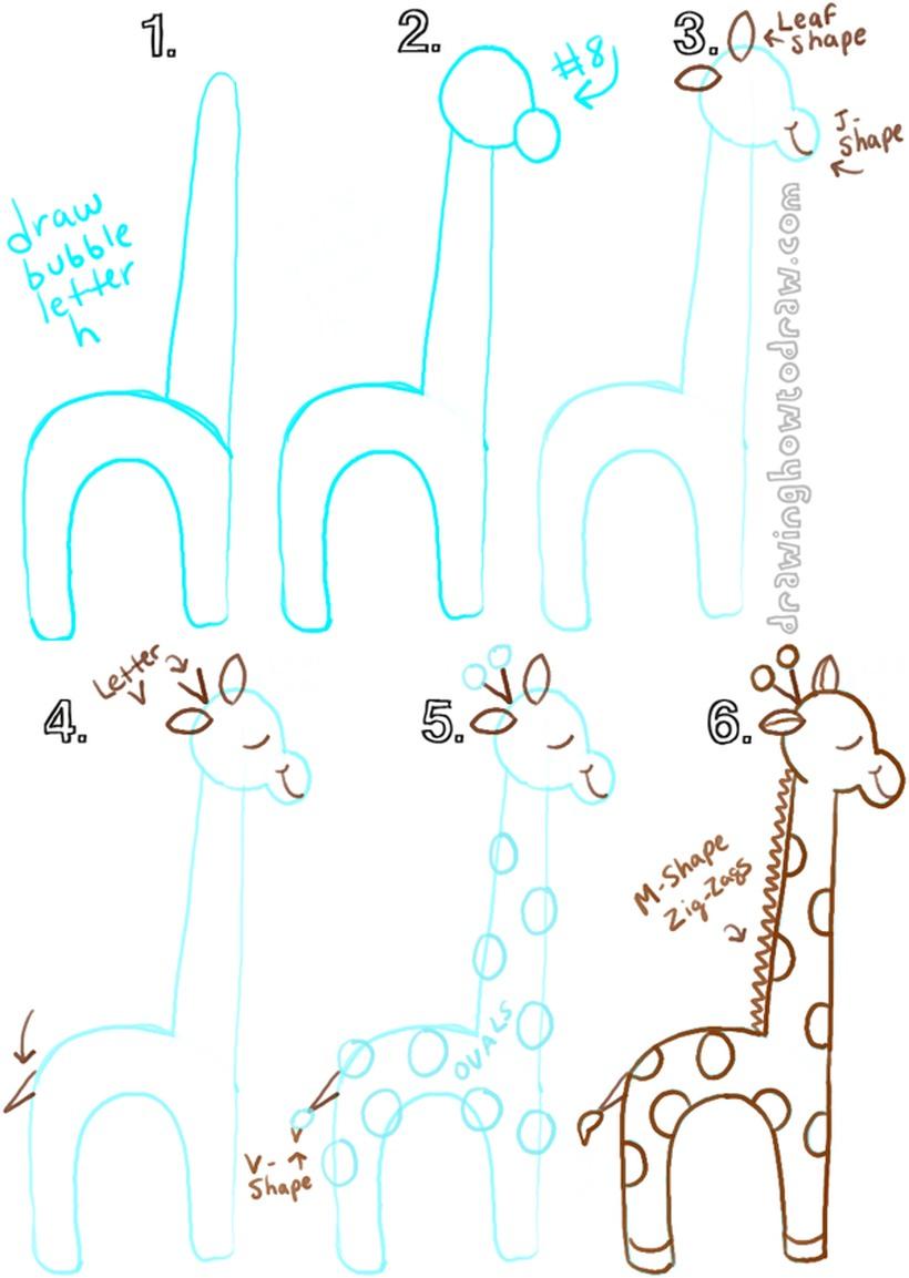 jirafa dibujos fáciles de animales para hacer a lápiz con niños paso a paso
