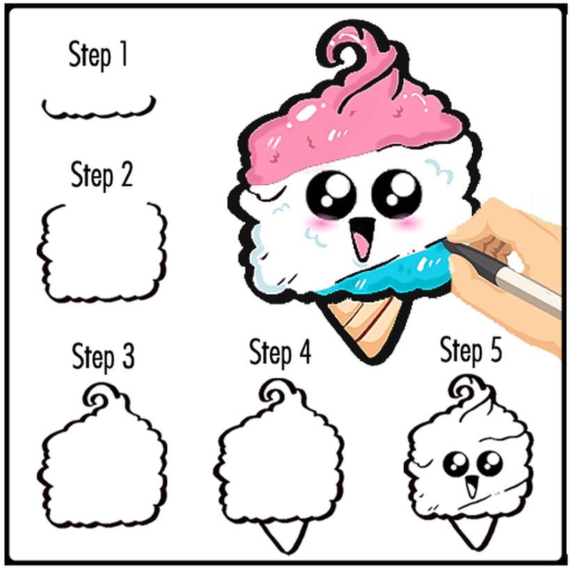 helado comida kawaii bonitos dibujos faciles en pocos pasos