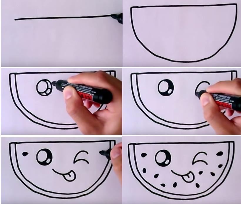 sandía kawaii bonitos dibujos faciles para hacer a lápiz con niños