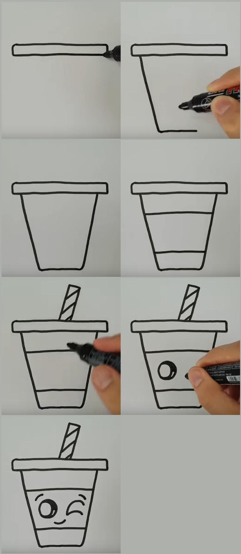 vaso kawaii bonitos dibujos faciles y rápidos