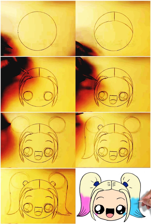 niña kawaii bonitos dibujos fáciles paso a paso