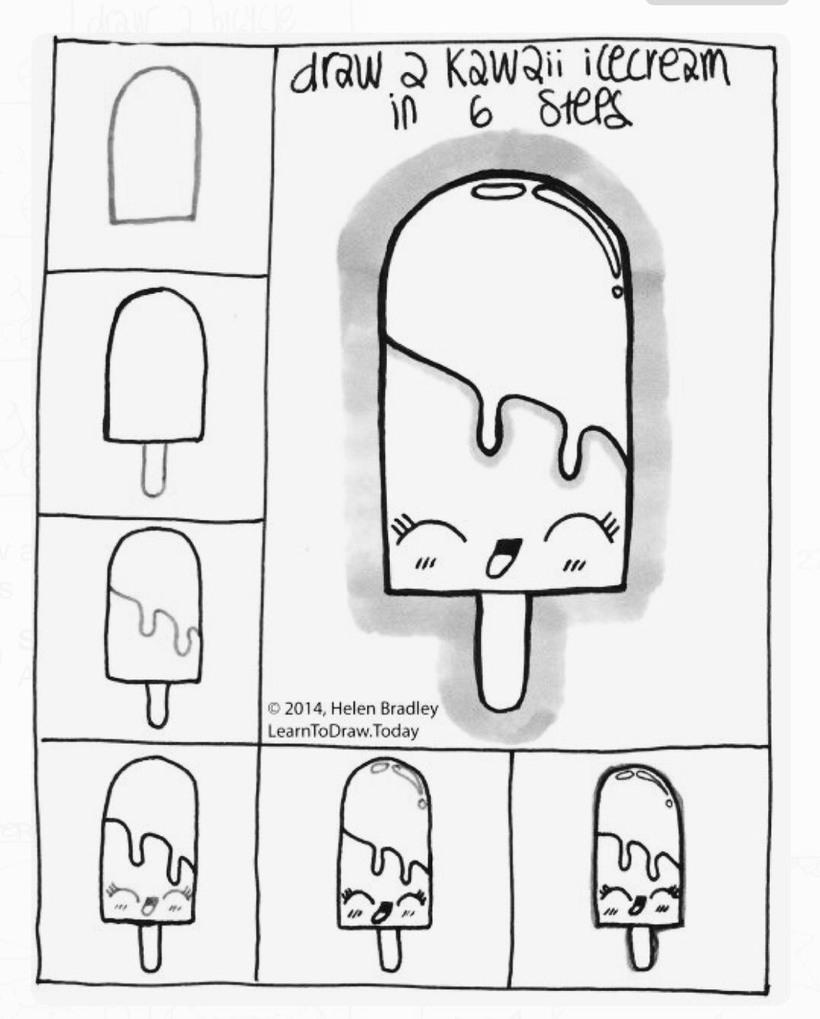 comida kawaii dibujos faciles helado paleta de palito paso por paso