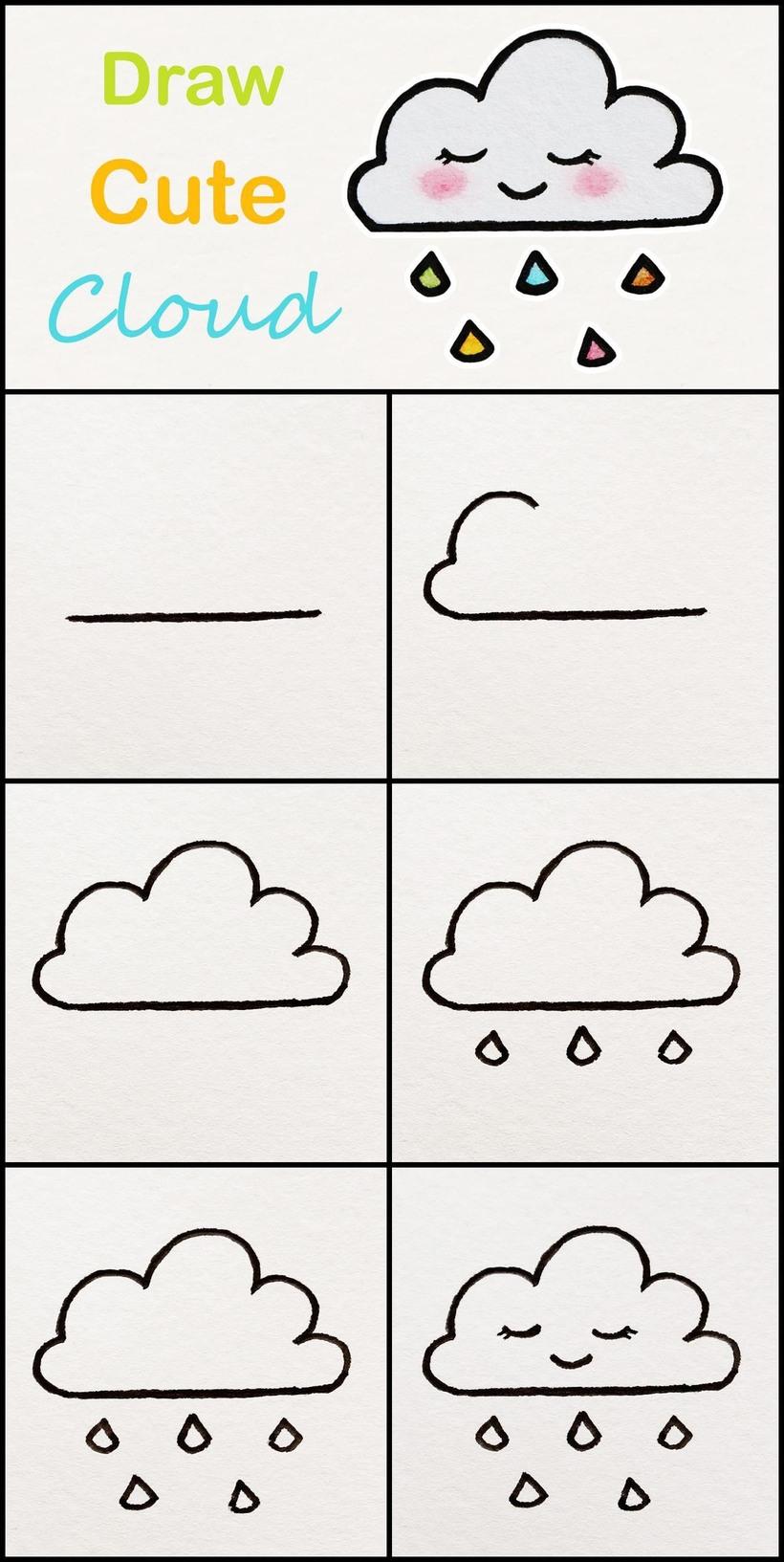 nube kawaii dibujos fáciles para hacer con niños nubecita con lluvia