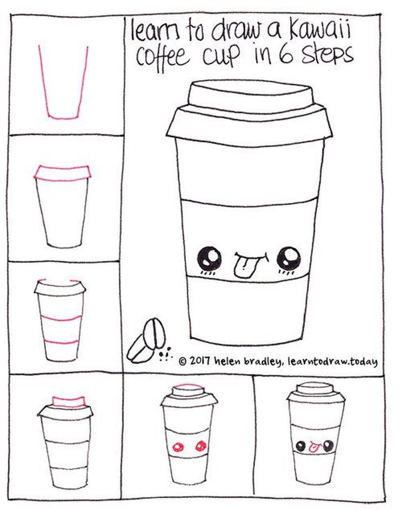 comida kawaii dibujos faciles de vaso de café paso a paso