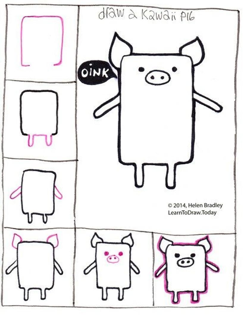 cerdo kawaii dibujos fáciles a lápiz para niños de cerdito tierno
