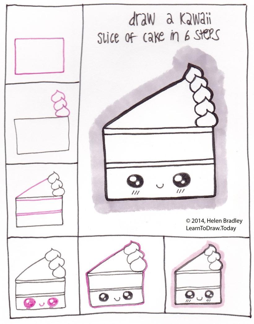 comida kawaii dibujos faciles porción de pastel bonita para hacer paso a paso