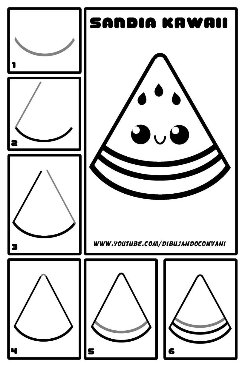 porción de sandía kawaii dibujos faciles en pocos pasos
