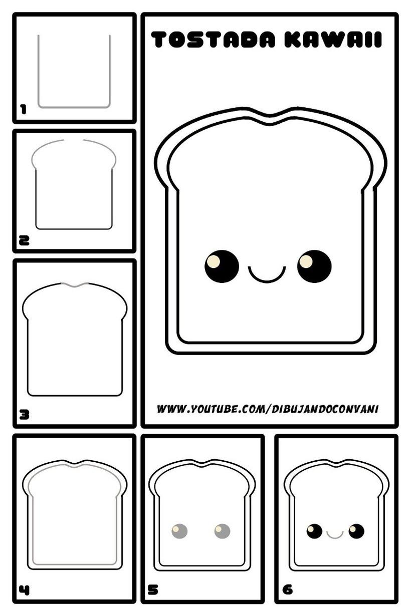 comida kawaii tostada tierna dibujos faciles para niños