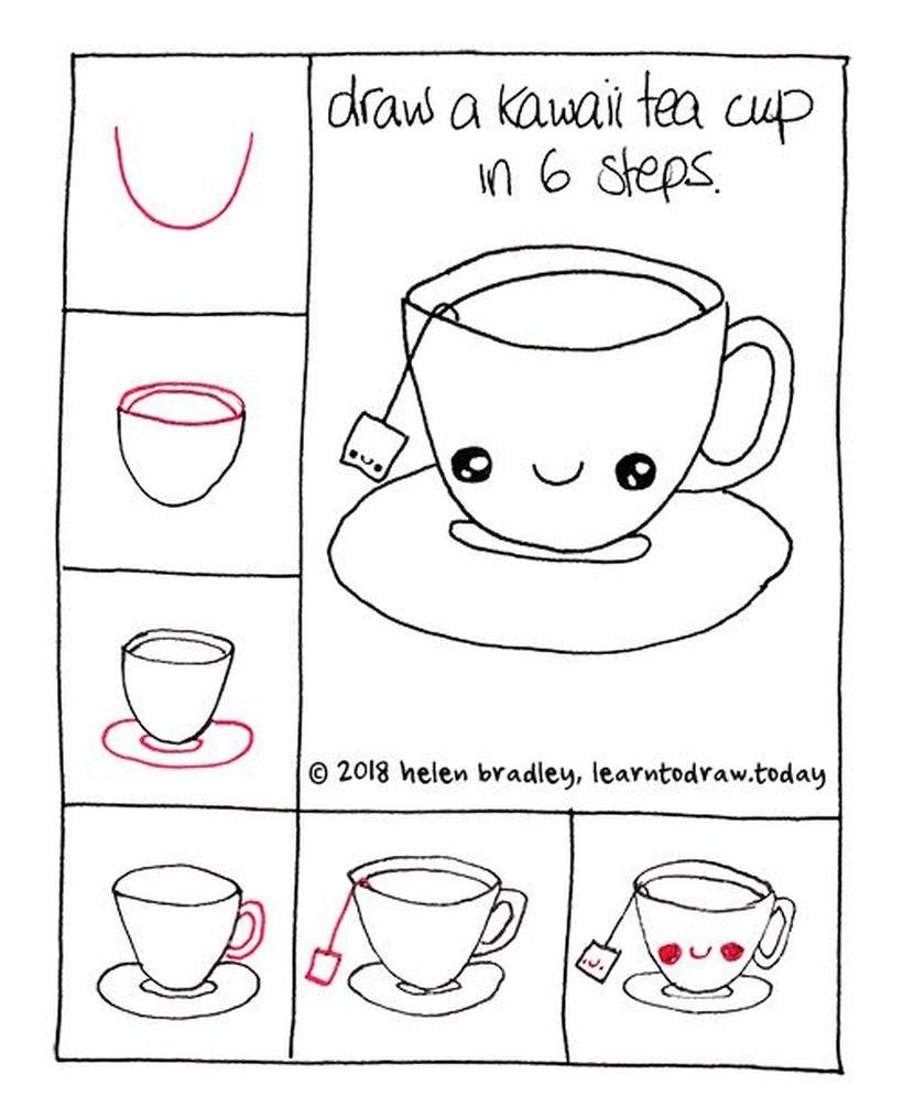 taza de te kawaii comida dibujos faciles guía paso a paso