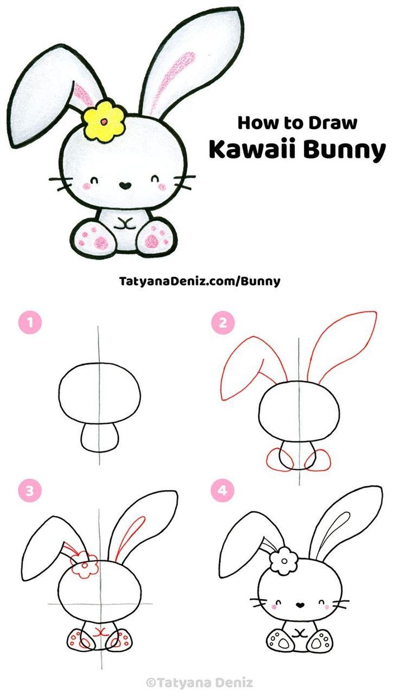conejo kawaii dibujos faciles y tiernos de conejito