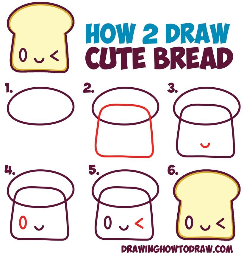 tostada kawaii dibujos faciles y tiernos para hacer con niños