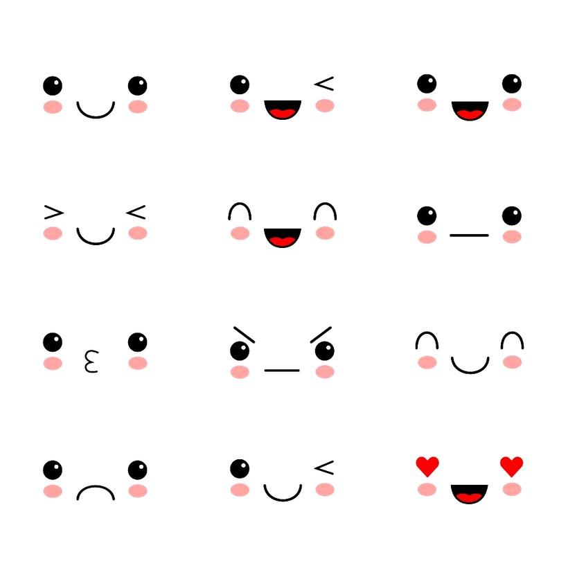 caritas kawaii dibujos faciles expresiones de caras tipo emojis muy bonitas y simples a color
