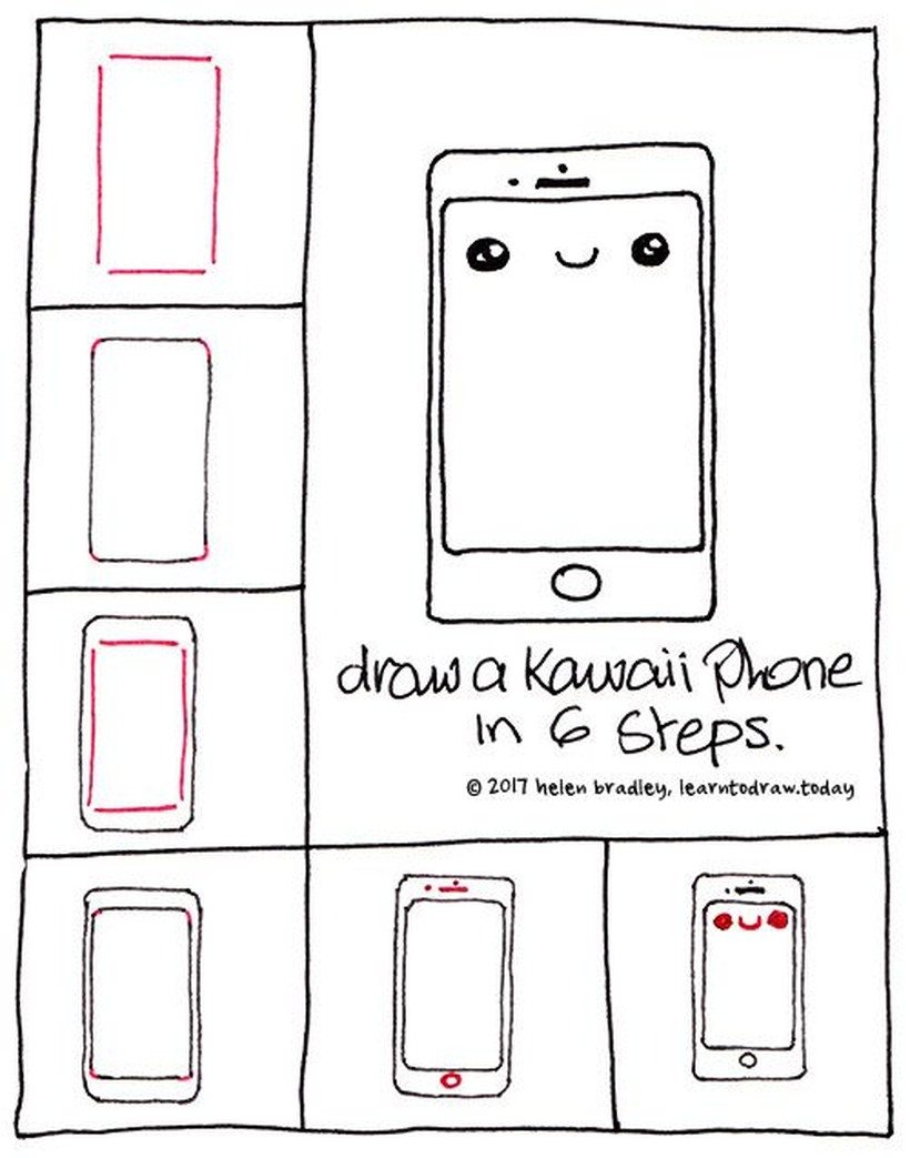 teléfono kawaii para dibujar fácil en pocos pasos