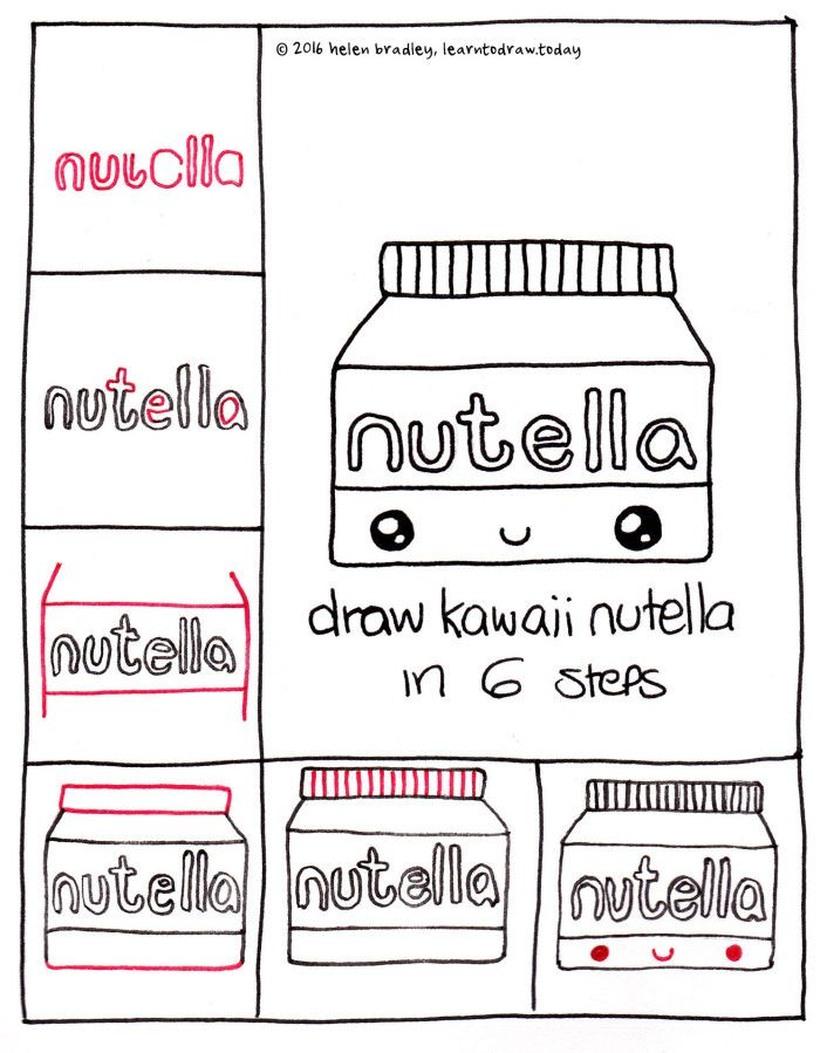 pote de nutella kawaii comida dibujos faciles para niños