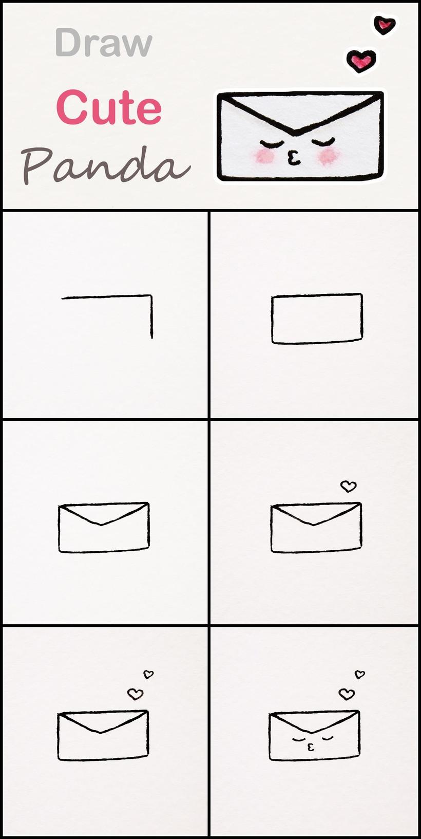 carta de amor en sobre kawaii dibujos faciles paso a paso