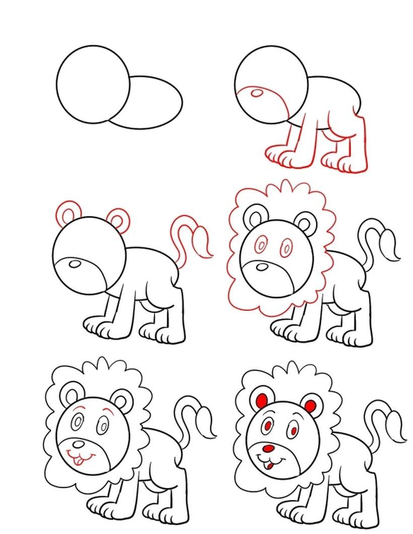 leon leones dibujos faciles 1