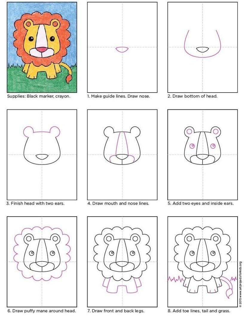 leon leones dibujos faciles 10