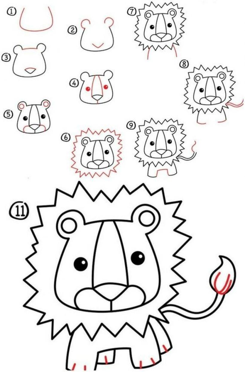 leon leones dibujos faciles 11