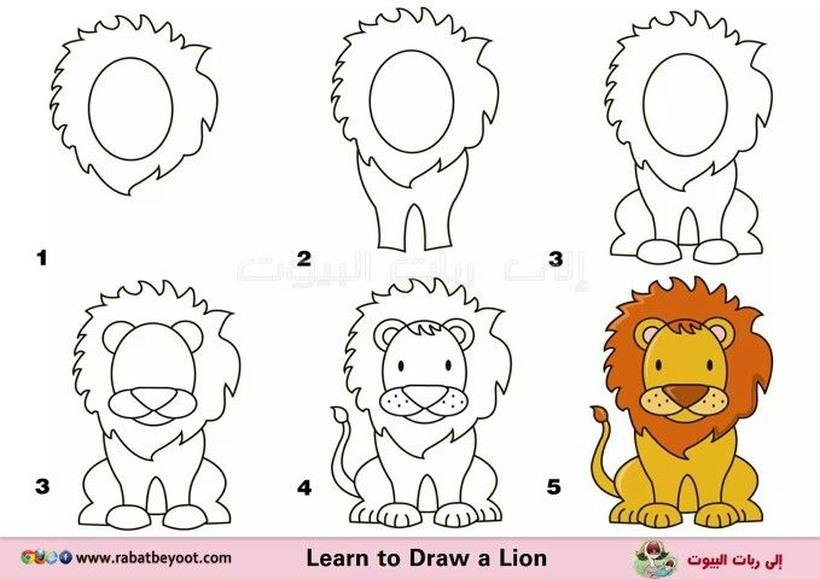 leon leones dibujos faciles 12