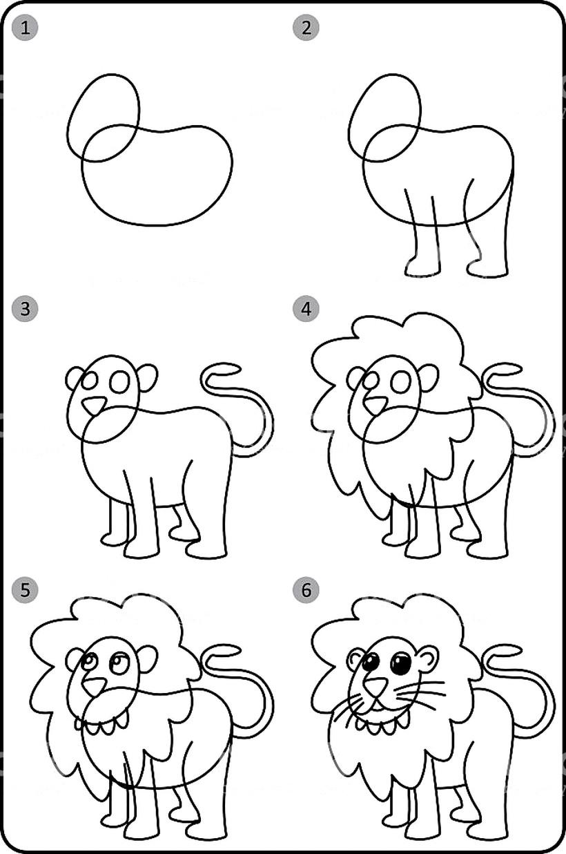 leon leones dibujos faciles 13