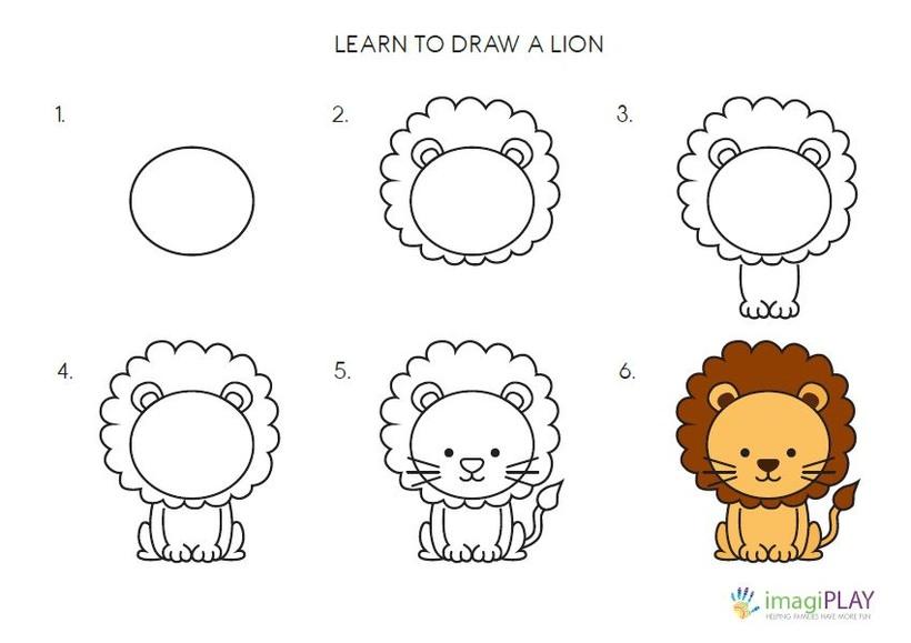 leon leones dibujos faciles 16