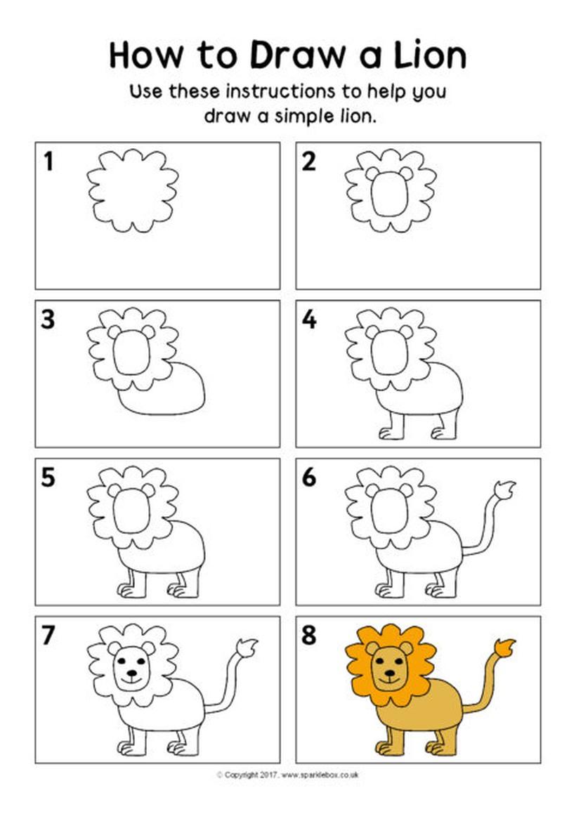 leon leones dibujos faciles 2 1