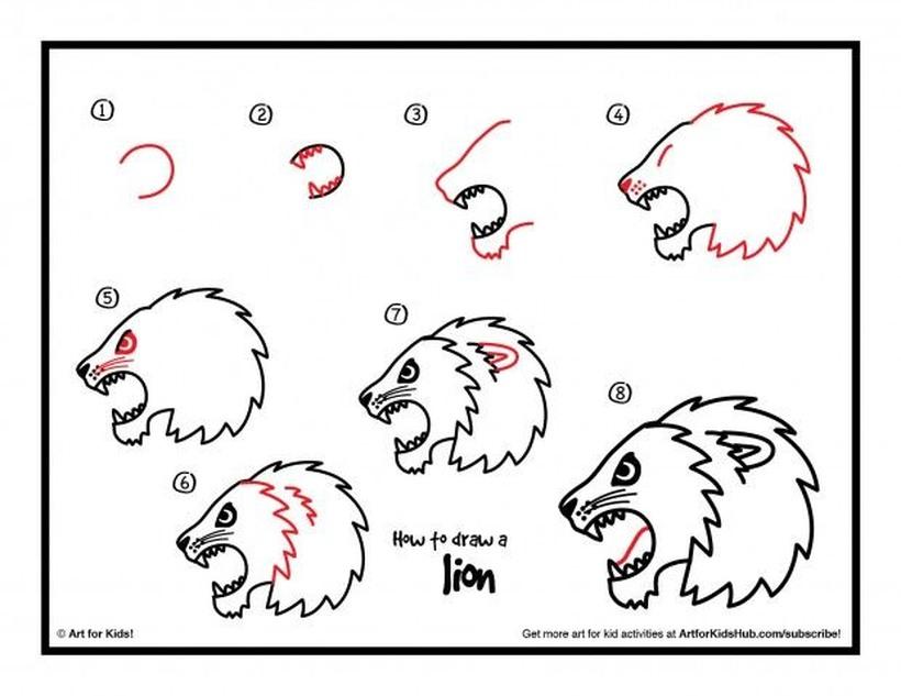 leon leones dibujos faciles 6