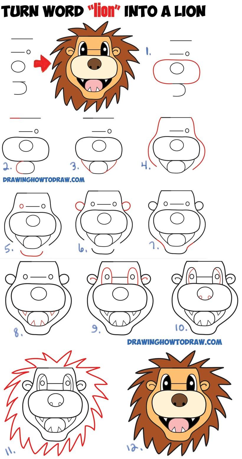 leon leones dibujos faciles 7