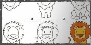 leones dibujos faciles