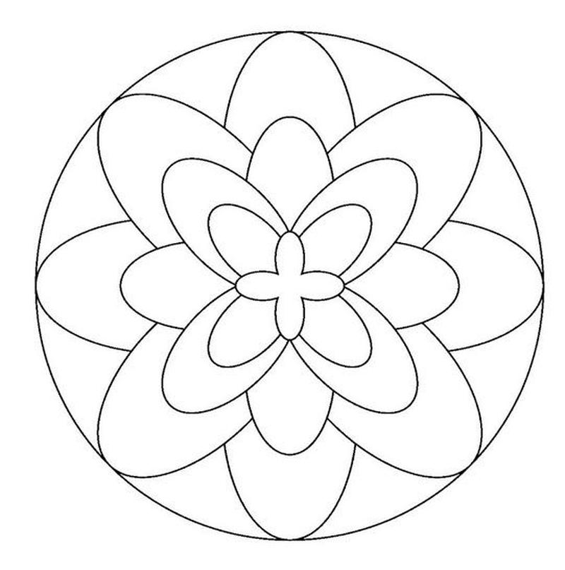 mandalas sencillos de flores para imprimir y colorear con niños