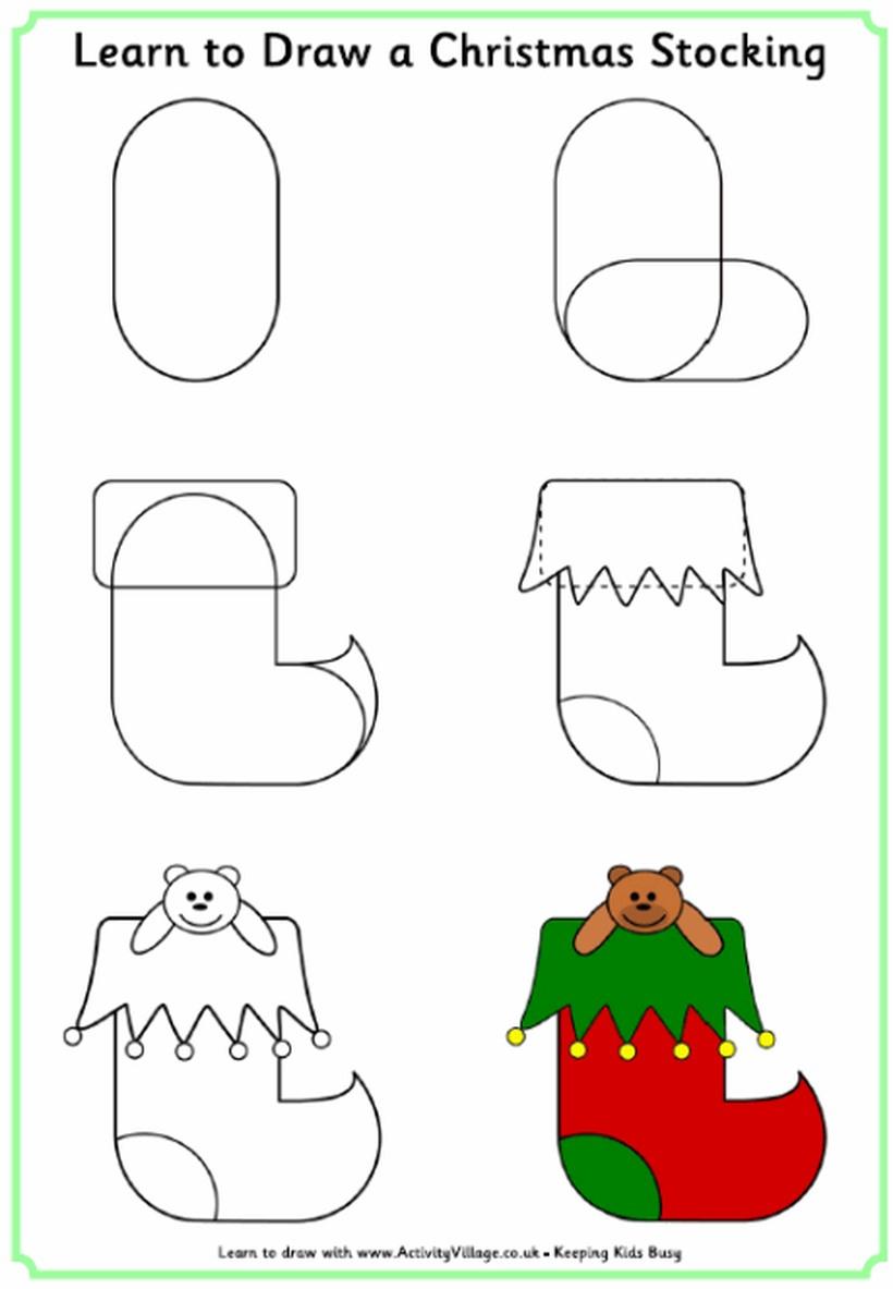 dibujos fáciles de navidad calcetines para caramelos medias con dulces adornos navideños paso a paso a lápiz