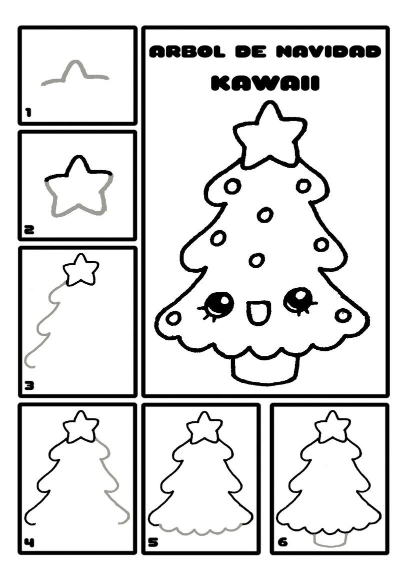 dibujo fácil pino de navidad paso a paso árbol navideño kawaii