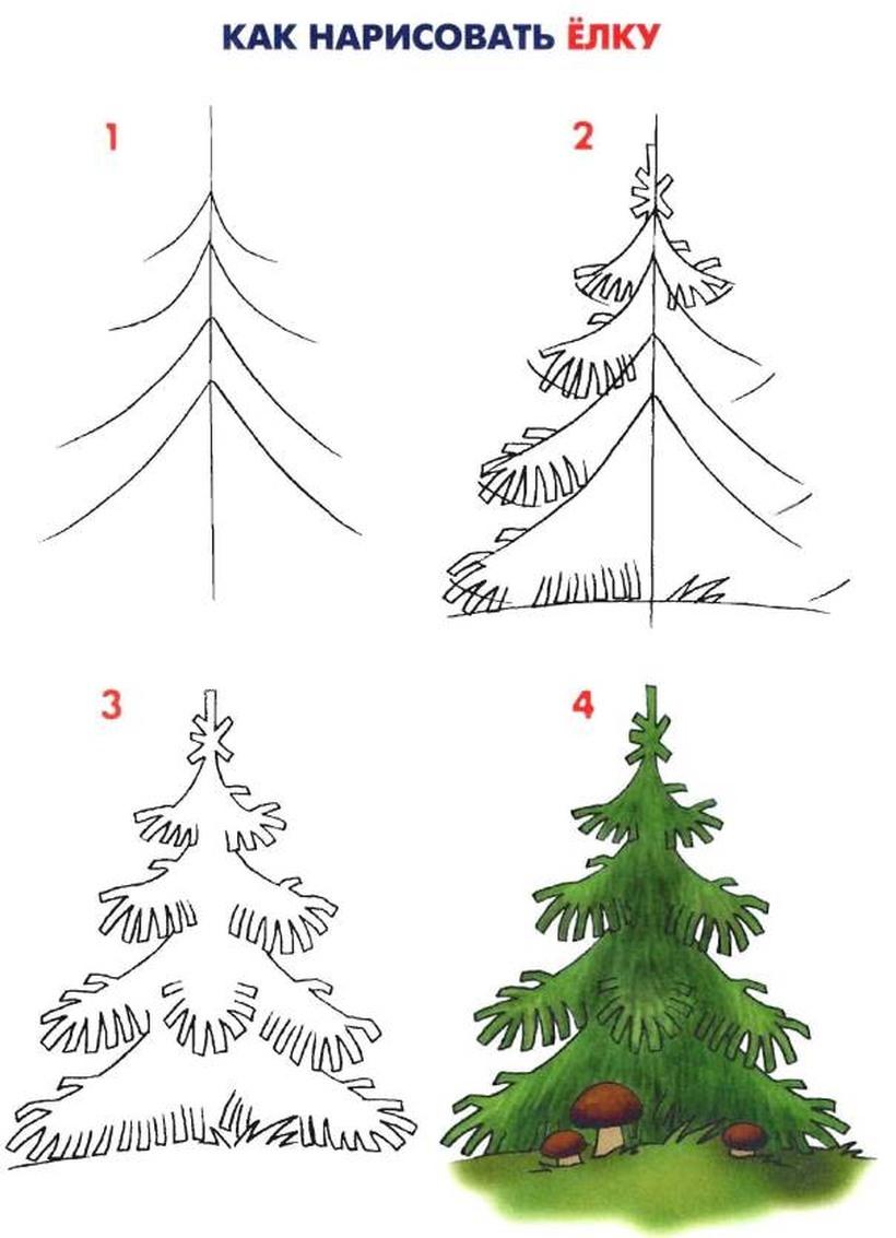 dibujo fácil a lápiz de pino de navidad para colorear árbol navideño