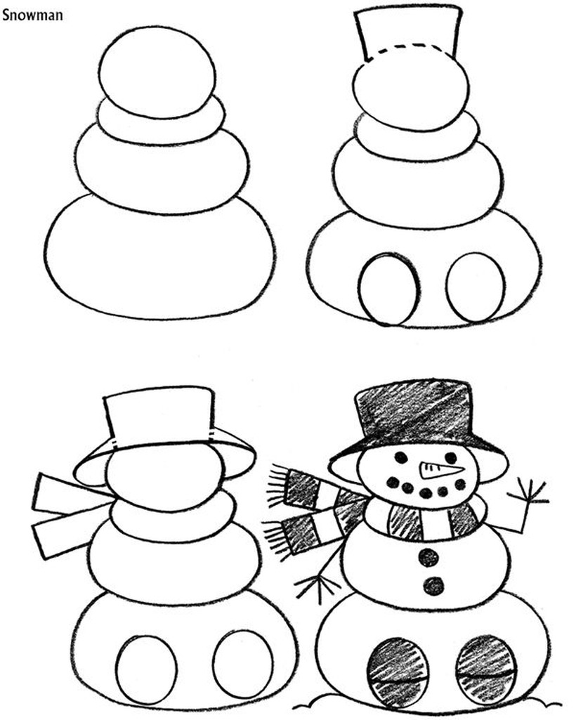 dibujos fáciles de muñecos de nieve para navidad paso a paso a lápiz