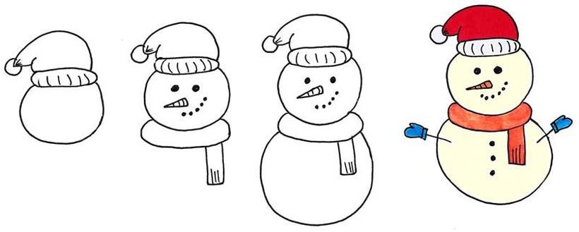 dibujos fáciles de muñecos de nieve navideños paso a paso a lápiz