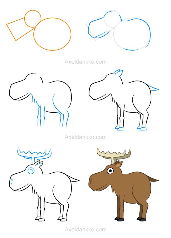 dibujar renos de santa claus navideños fácil paso a paso a lápiz para colorear