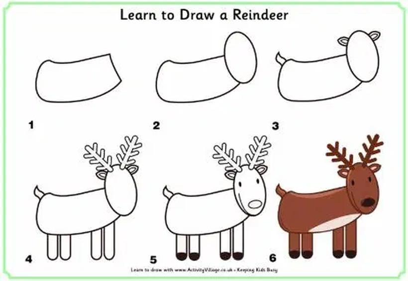 dibujos fáciles de renos de navidad  paso a paso a lápiz para pintar y recortar reno de papá noel santa claus viejito pascuero