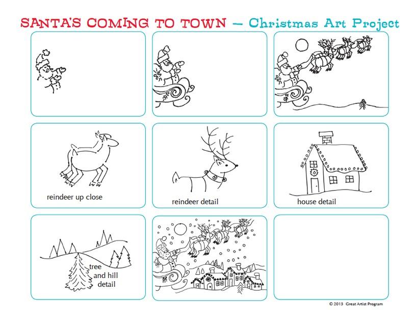 dibujos fáciles de renos de navidad  paso a paso a lápiz reno de papá noel santa claus viejito pascuero volando sobre un pueblo nevado