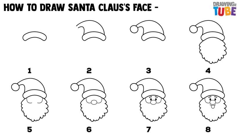 dibujos fáciles de navidad cara de santa claus papa noel viejito pascuero paso a paso a lápiz