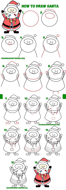 dibujos fáciles de navidad cara y cuerpo entero de santa claus papa noel viejito pascuero paso a paso a lápiz