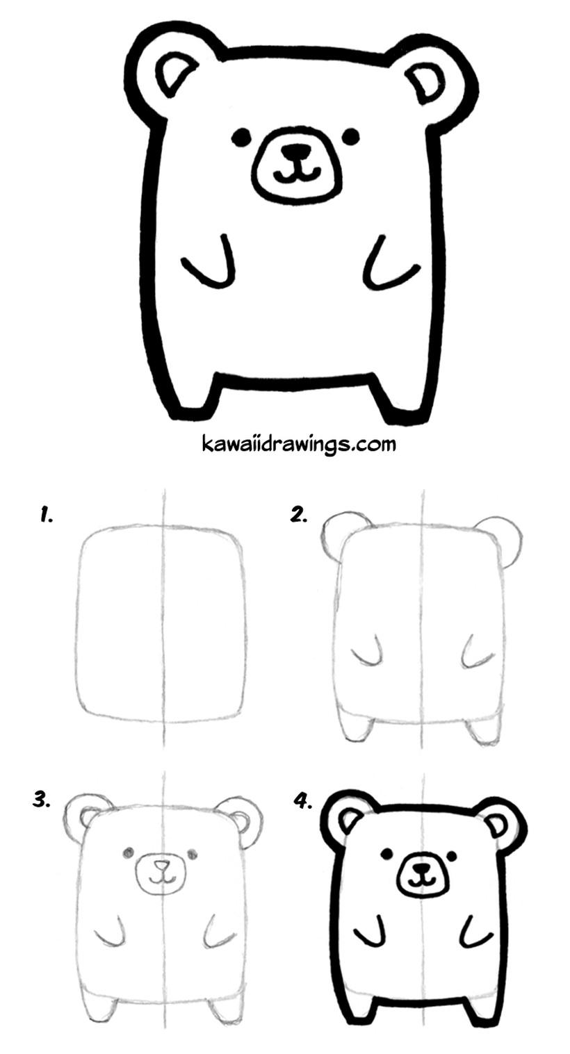 oso osos kawaii dibujos faciles tiernos a lápiz