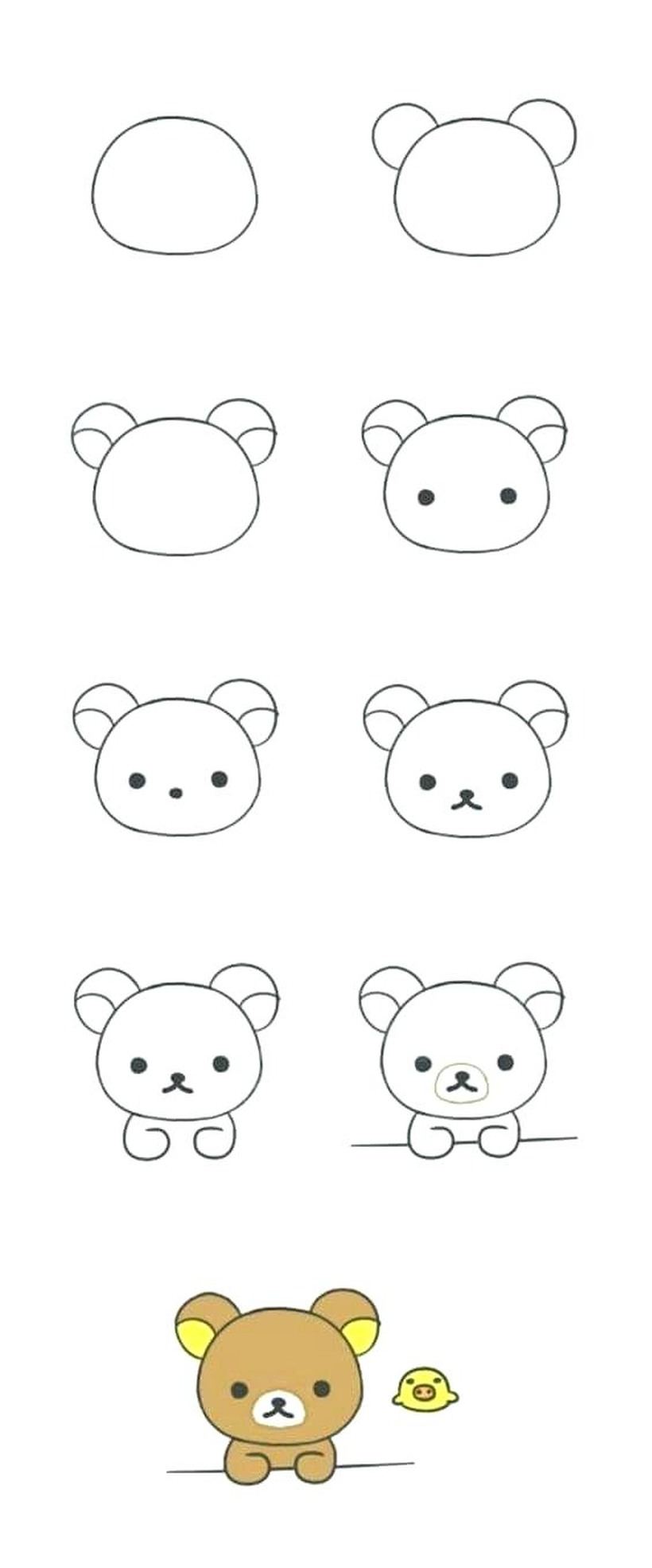 oso osos dibujos faciles ositos bonitos tiernos para hacer a lápiz y pintar