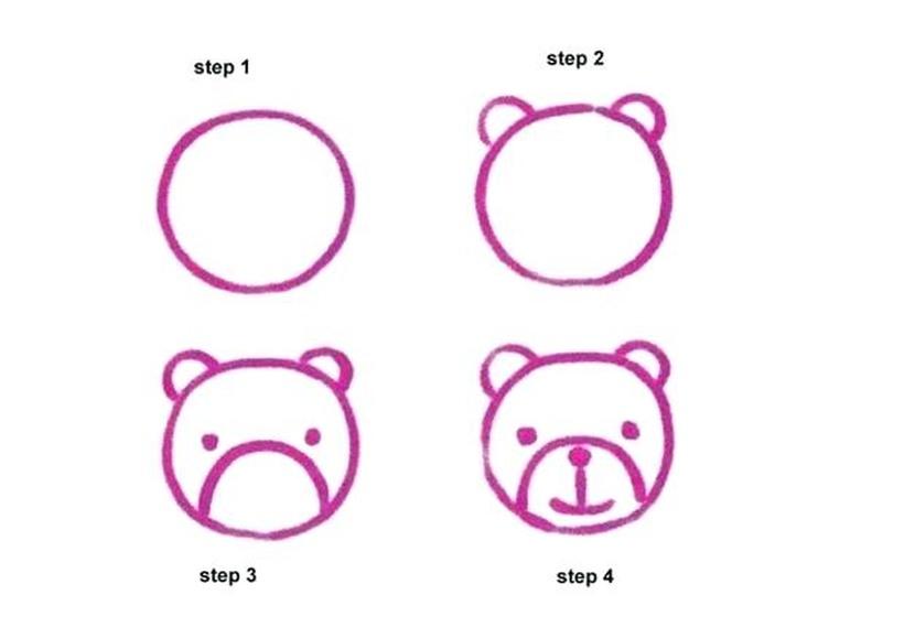 cara de oso osos dibujos faciles paso a paso
