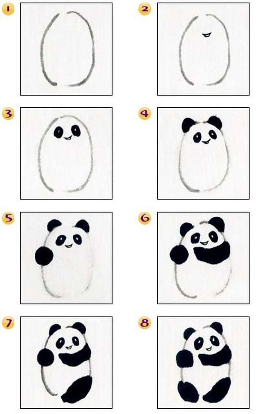 oso panda osos dibujos faciles a lápiz sencillos para niños