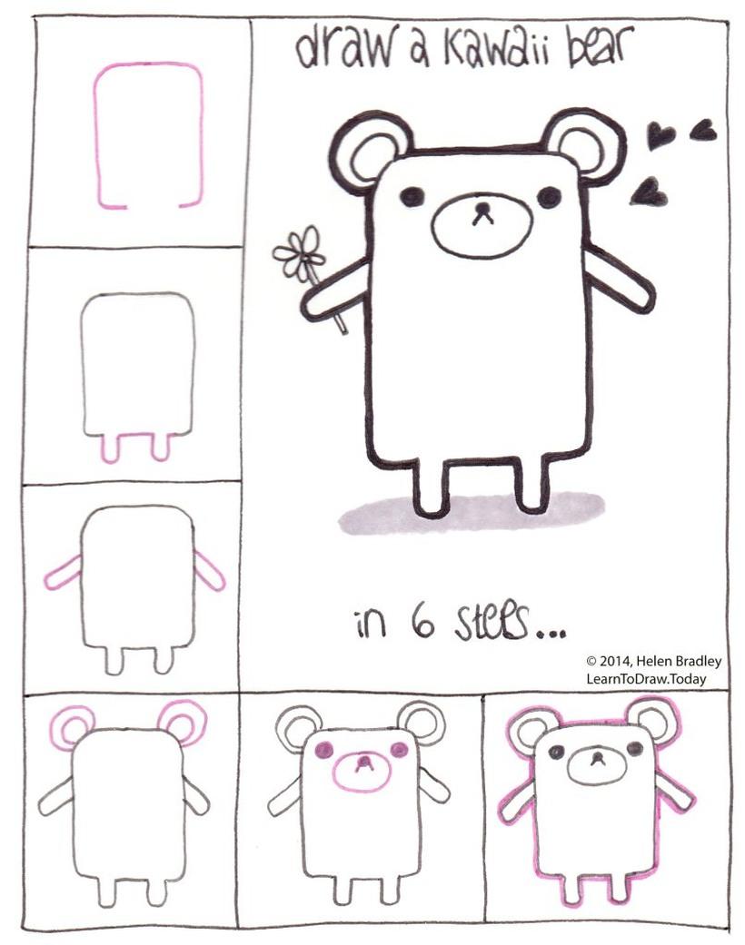oso osos dibujos faciles kawaii pasos para niños