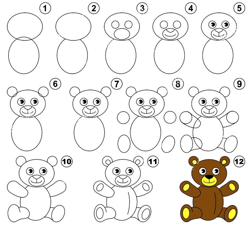oso de peluche osos dibujos faciles guía paso a paso fácil