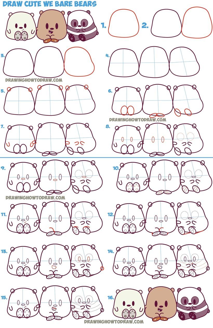 oso osos tiernos dibujos faciles tutorial paso a paso polar pardo y panda