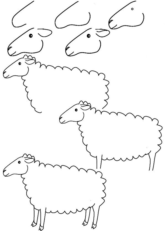 oveja dibujos fáciles de animal de granja para hacer a lápiz con niños paso a paso