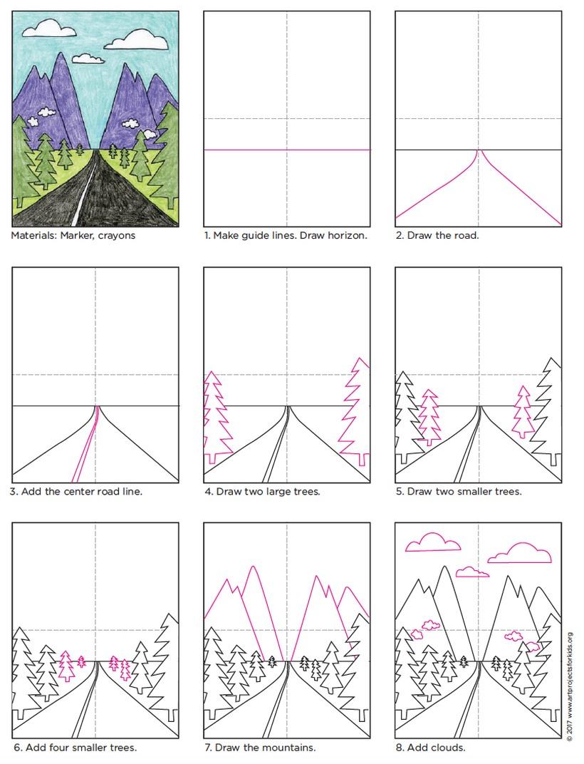 paisajes dibujos fáciles paso a paso a lápiz para colorear carretera camino entre montañas y pinos