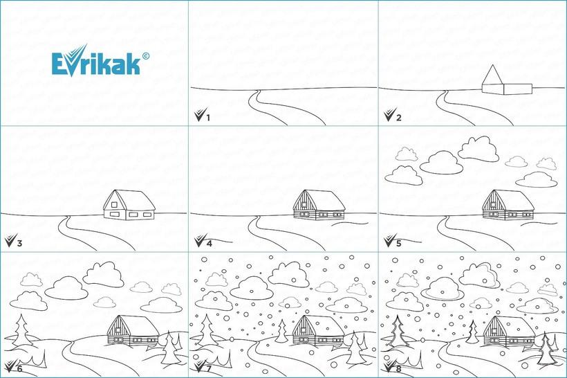 paisajes dibujos fáciles paso a paso a lápiz para colorear cabaña con nieve nubes y pinos